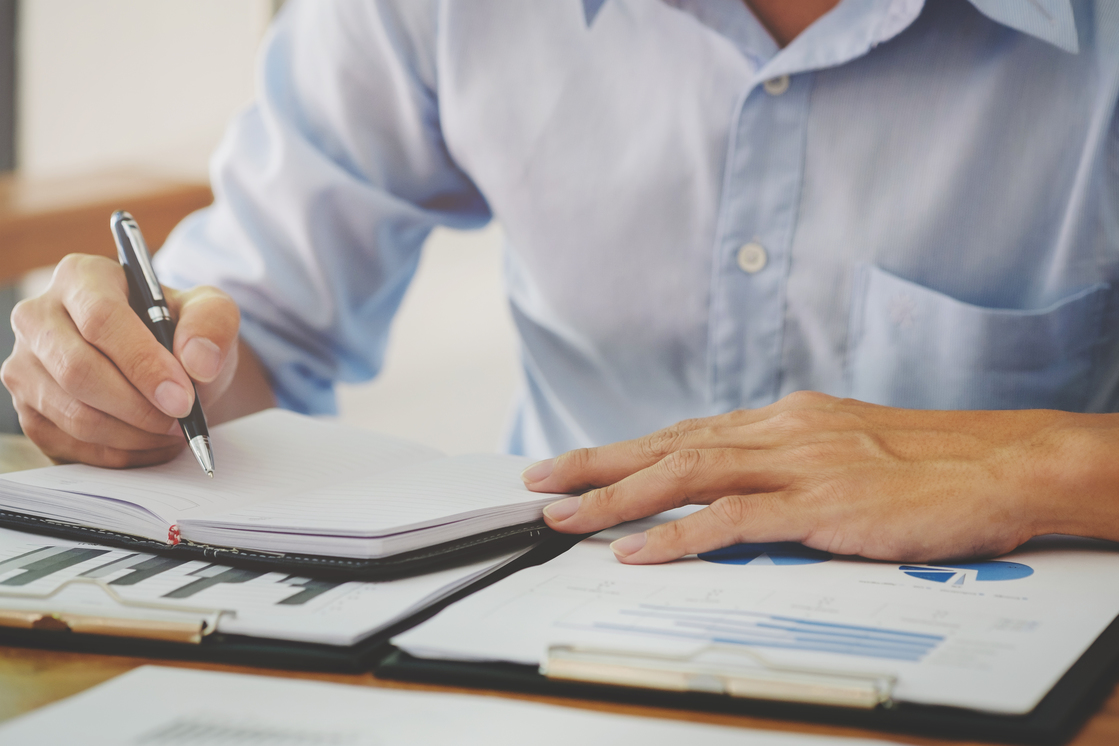 businessman working with financial report
